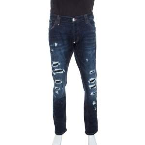 Philipp Plein Blue Denim Super Straight Cut Snatch Jeans 3XL