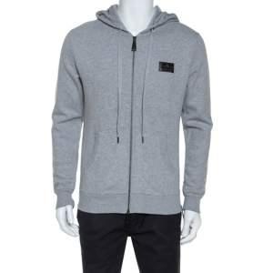 Philipp Plein Grey Jersey Skull Embellished Zip Front Hooded Jacket M