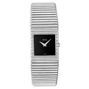 Piaget Black 18K White Gold Polo 9131 Men's Wristwatch 25 x 22 MM