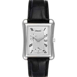 Piaget Silver 18K White Gold Tie Emperador Coussin 18900 Men's Wristwatch 41 x 30 MM