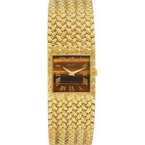 Piaget Brown Tiger Eye Stone 18k Yellow Gold Vintage 9352 Men's Wristwatch 23 MM
