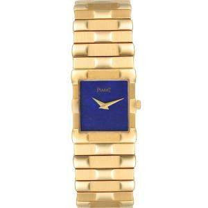 Piaget Blue Lapis Lazuli 18K Yellow Gold Quartz 81301 Men's Wristwatch 22 MM