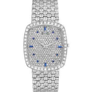 Piaget Silver Diamonds 18K White Gold Sapphire Vintage Cocktail 9741 Men's Wristwatch 34 x 30 MM