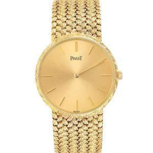 Piaget Champagne 18k Yellow Gold Vintage 9065 Men's Wristwatch 31 MM