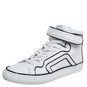 Pierre Hardy White/Black Leather Velcro Strap High Top Sneakers Size 42