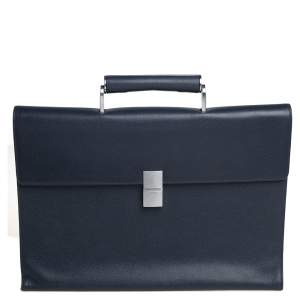 Porsche Design Navy Blue Grained Leather French Classic Briefcase