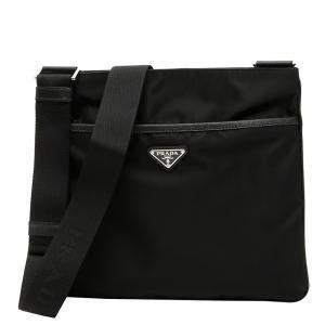 Prada Black Nylon Messenger Travel Bag