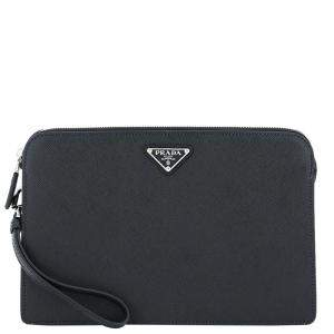 Prada Black Leather Clutch