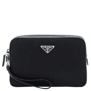 Prada Black Nylon Saffiano Leather Pouch