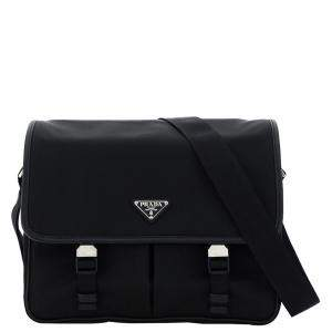 Prada Black Nylon Flap Shoulder Bag