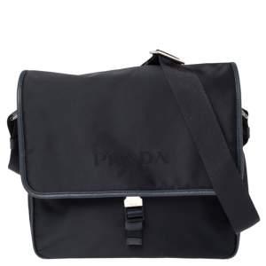 Prada Navy Blue Tessuto Nylon and Saffiano Leather Messenger Bag