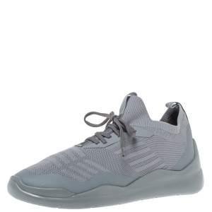 Prada Grey Knit Fabric Toblach Low Top Sneakers Size 42.5
