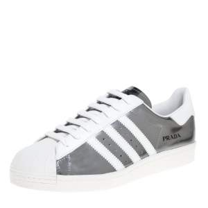 Prada x Adidas Silver/White Leather Superstar Low Top Sneakers Size 45 1/3