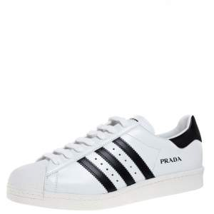 Prada x Adidas White/Black Leather Superstar Low Top Sneakers Size 45 1/3