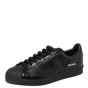 Prada x Adidas Black Leather Superstar Low Top Sneakers Size 44 2/3