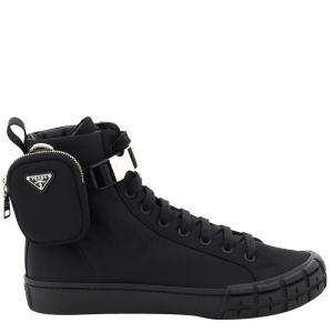 Prada Black Wheel Re-Nylon Gabardine High-top Sneakers Size EU 44 UK 10