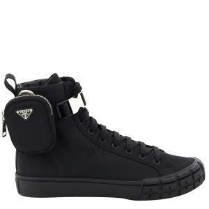 Prada Black Wheel Re-Nylon Gabardine High-top Sneakers Size EU 42 UK 8