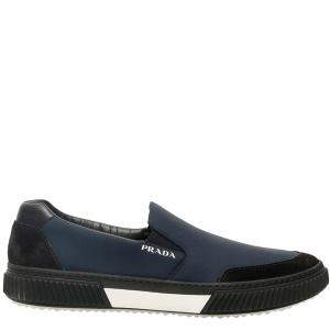 Prada Black/Ultramarine Stratus Suede And Technicial Fabric Slip-On Sneakers Size UK 7