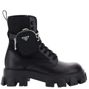 Prada Black Leather and Nylon Monolith Combat Boots Size UK 9