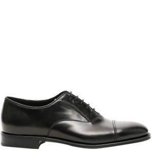 Prada Black Brushed Leather Oxford Shoes Size UK 9