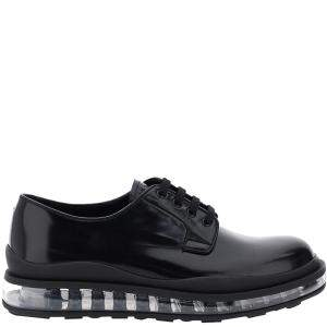 Prada Black Brushed Leather Derby Clearsole Shoes Size UK 9