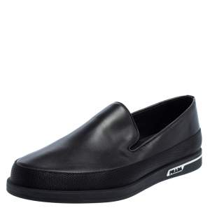 Prada Saint Tropez Black Leather Slip-On Sneakers Size 43