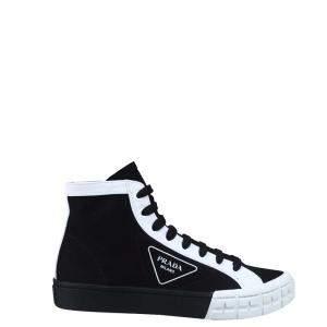 Prada Black/White Gabardine high-top Sneakers Size EU 44 (UK 10)