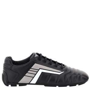 Prada Black Leather Rev Sneakers Size UK 8 EU 42
