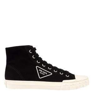 Prada Black Cotton Canvas High-Top Sneakers Size EU 42