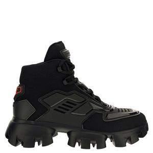 Prada Black Technical Fabric Cloudbust Thunder High Top Sneakers Size UK 8 EU 42