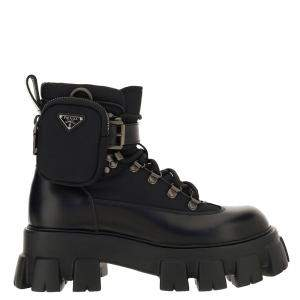 Prada Black Brushed Rois leather and nylon Monolith Boots Size UK 7 EU 41