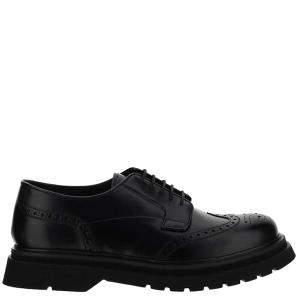 Prada Black Brushed Leather Derby Shoes Size UK 10 EU 44