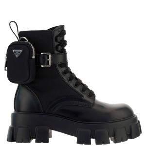 Prada Black Brushed Rois leather and nylon Monolith Boots Size UK 8 EU 42