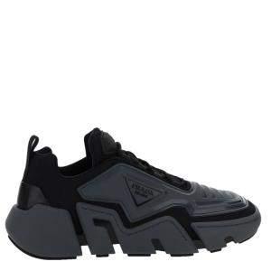 Prada Black Leather Technical fabric Sneakers Size EU 41 UK 7
