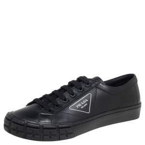 Prada Black Leather Low Top Sneakers Size 44