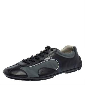 Prada Sport Navy Blue Leather and Nylon Lace Up Sneakers Size 42