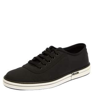 Prada Black Nylon And Rubber Low Top Sneakers Size 40