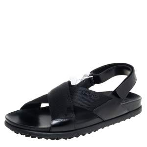 Prada Sport Black Nylon And Leather Flat Slingback Sandals Size 40
