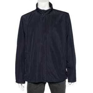 Prada Sport Navy Blue Synthetic Zip Front Jacket L