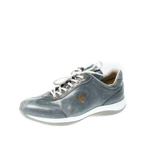 Prada Sport Blue/Grey Leather Lace Up Sneakers Size 38