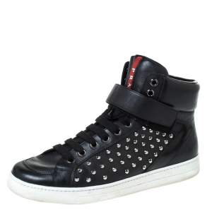 Prada Sport Black Leather Studded Lace Up High Top Sneakers Size 42
