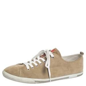 Prada Sport Beige Suede Low Top Sneakers Size 46