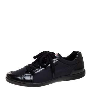 Prada Sport Black Nylon Fabric And Leather Low Top Sneakers Size 41.5