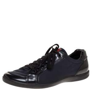Prada Sport Black Leather And Nylon Lace Up Sneakers Size 44.5