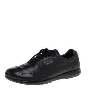 Prada Sport Black Leather Lace Up Low Top Sneakers Size 42.5