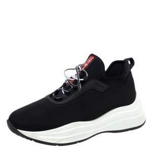 Prada Sport Black Knit Fabric Athletic Sneakers Size 40.5