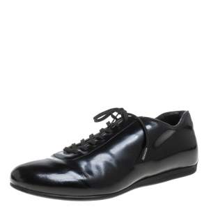 Prada Sport Black Patent Leather Lace Up Low Top Sneakers Size 42