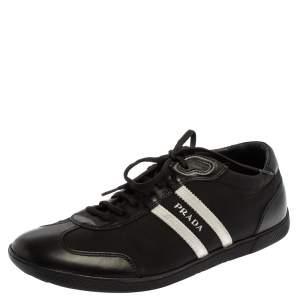 Prada Black/White Nylon And Leather Low Top Sneakers Size 42