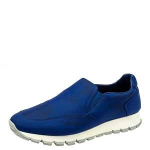 Prada Sport Blue Nylon Slip On Sneakers Size 39.5