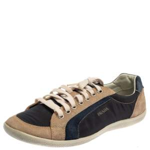 Prada Sport Blue/Beige Suede And Nylon Low Top Sneakers Size 43